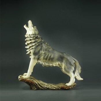 Faux Wood Wolf Decorative Figurine Animal Statue Art Sculpture Colophony Crafts Home Decoration 32CM R526