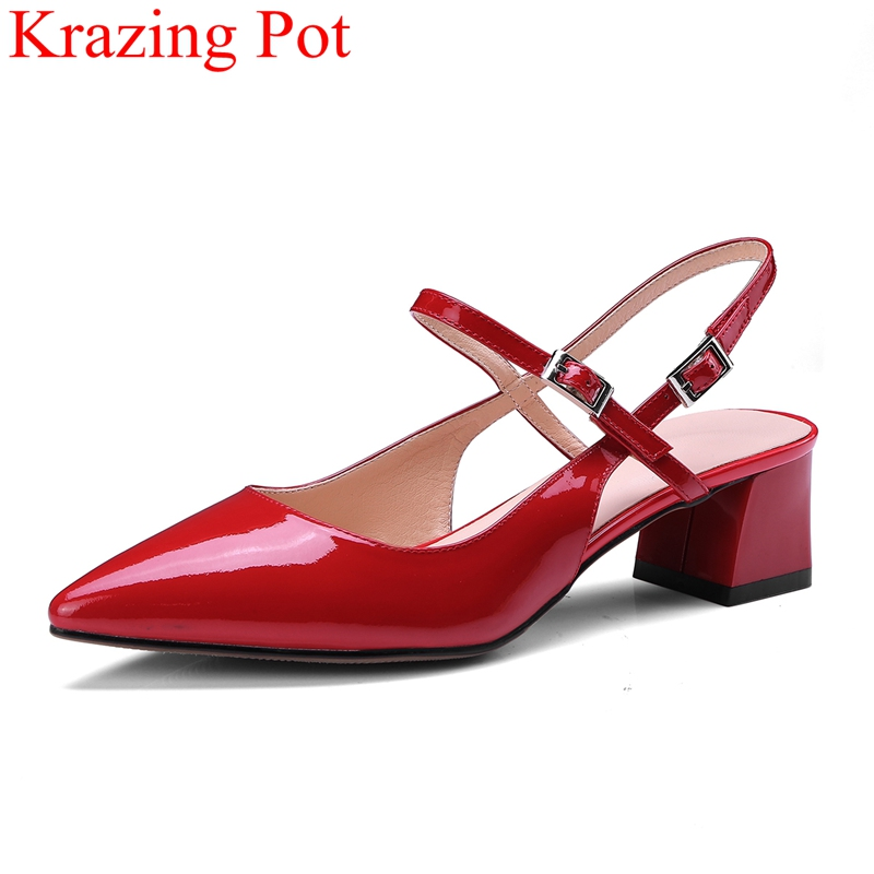2018 superstar pointed toe summer shoes square heel women sandals med heels concise office lady elegant party wedding shoes L00 kemekiss size 32 45 women concise pumps square toe high heels shoes solid office lady thick heel pump party wedding footwears