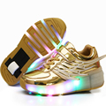 Nuevo 2017 niño jazzy júnior niñas niños luz led roller skate casual shoes for kids niños luminosos zapatillas de deporte con ruedas