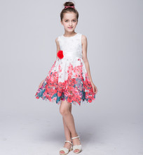 Baby girls dress for age 4-13 High Quality Floral Flower print dress Girl Dresses for Party&Wedding Princess Rose Dress a 100127