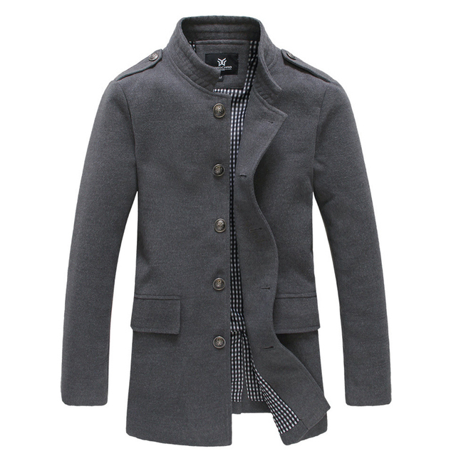 Nova Chegada Casaco De Lã Dos Homens Longo Inverno Gola Outono Sobretudo casaco Para Homens Sólidos Slim Fit Moda Abrigo Hombre Lana
