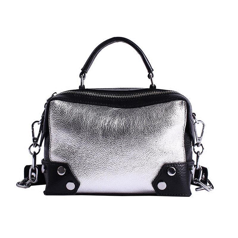 2018 European and American Rivet Chain Design Head Layer Cowhide Women Flap Bag Small Square Bag