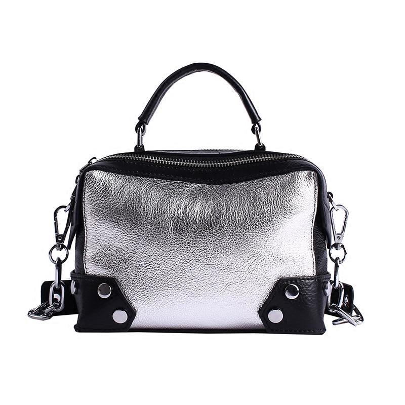 2018 European and American Rivet Chain Design Head Layer Cowhide Women Flap Bag Small Square Bag