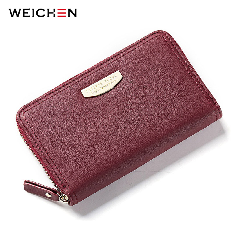 WEICHEN Lady Long Wallet for Women Brand Zipper Female Wallets Money Purse Cell Phone Pocket Card Holder Coin Bag Ladies cossroll brand women wallets genuine leather long thin purse clutches bags cards holder zipper phone pocket lady party wallet