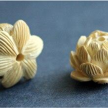 FYC06 High Quality Handmade Craft Beads Wood Carved Lotus Fl