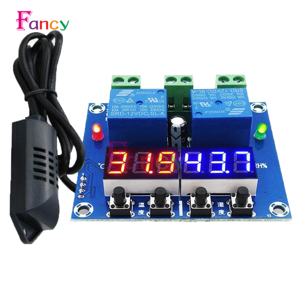 XH-M452 Thermostat Temperature Humidity Control Thermometer Hygrometer Controller Module DC 12V LED Digital Display Dual Output