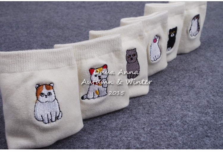 New Arrival White Color Japanese Style Cute Animal Cat Socks Cotton Funny Socks Women 6