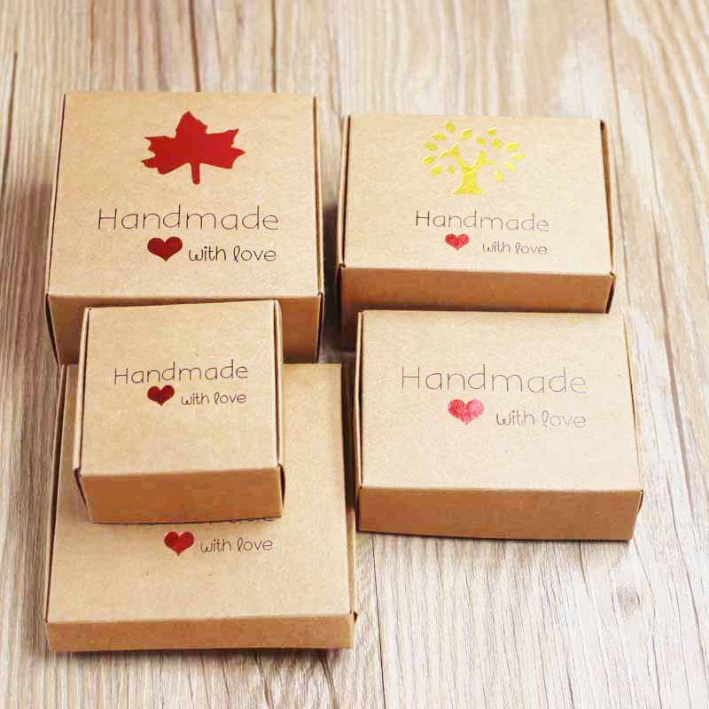 20pcs/lot DIY Handmade With Love Wedding Candy Box Romantic Kraft Gift Box Multi Size Paper Gift Packing And Heart Display Box