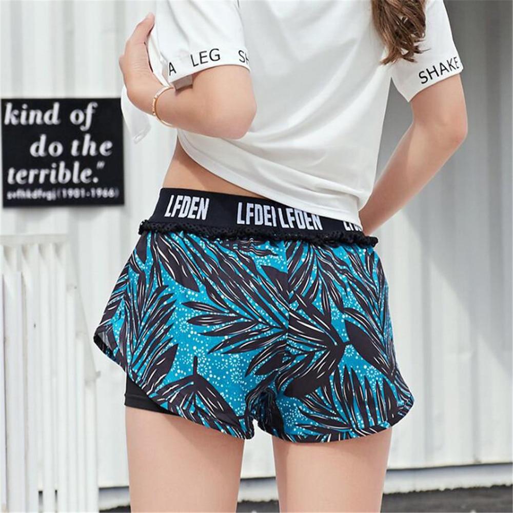 fashion Fake two pieces grid Ventilation Frenulum Easy train Run harajuku summer shorts women short feminino spodenki damskie