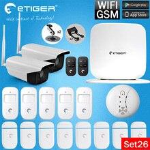 Etiger WiFi/Aystem Más Reciente de Alarma GSM con Cámara IP Al Aire Libre + detector Somke