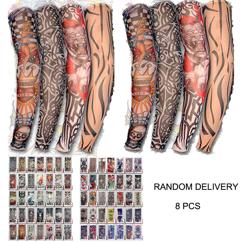 8 Pcs Unisex Temporary Fake Slip On Tattoo Arm Sleeves Kit New Fashion Sunscreen Guantelete Gauntlet For Sun Protection	Mangas