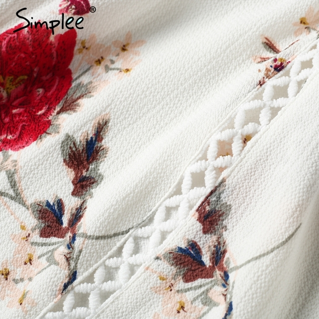Simplee Off shoulder hollow out summer dress Loose floral print pleated sexy short dress robe Women casual beach white dress