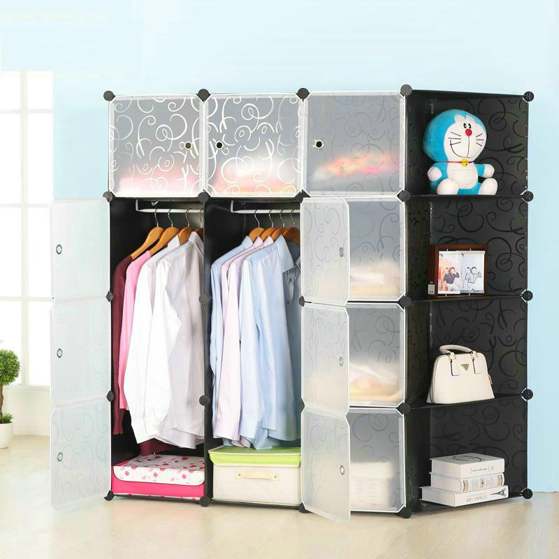 2017 new combination of plastic resin folding simple wardrobe storage cabinets assembled small children 10 colors Wholesale