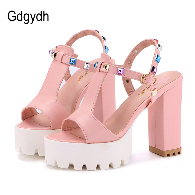 Gdgydh Colorful Rivets Women Shoes Summer Fashion T-Strap Buckle Open Toe Female Sandals Thick High Heels Ladies Shoes Platform sgesvier fashion women sandals open toe all match sandals women summer casual buckle strap wedges heels shoes size 34 43 lp009