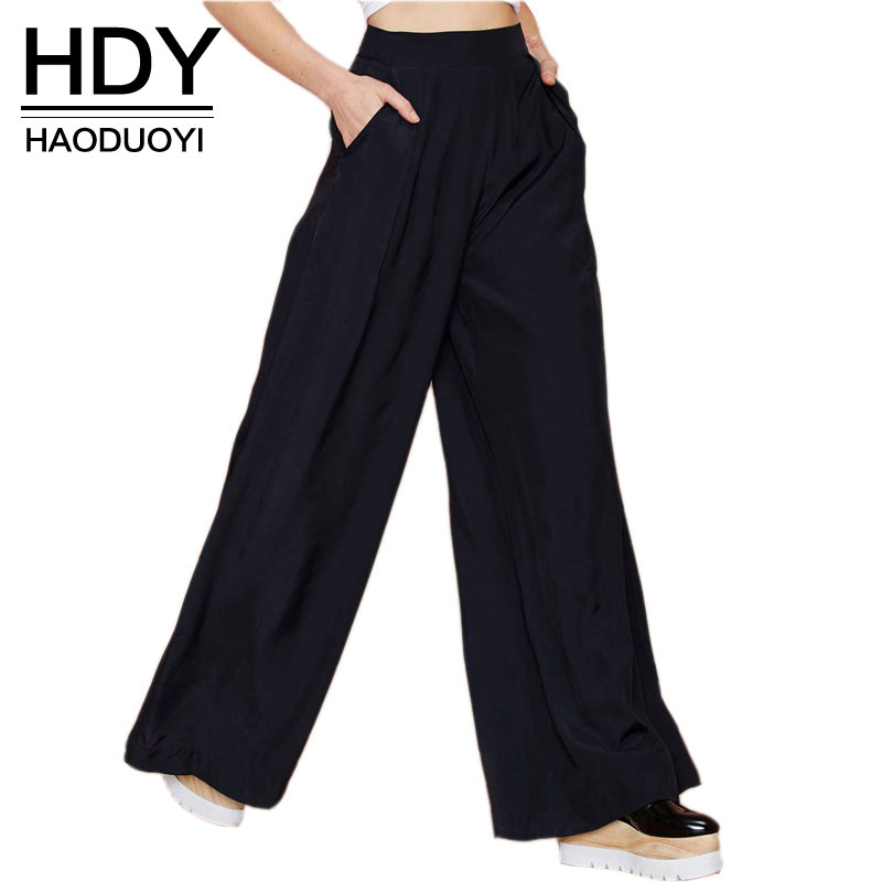 HDY Haoduoyi Hot Sale Dames Zwart Wijde Poot Casual Losse Palazzo Broek Elegante Rits Hoge Taille Pants New Arrivals