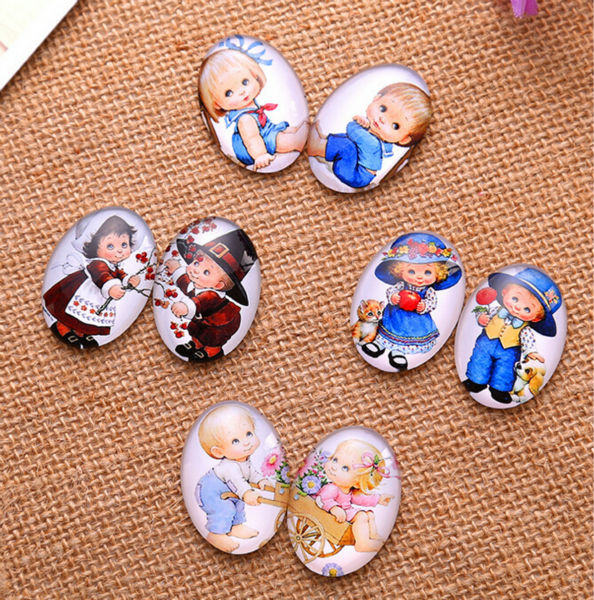 13*18/18*25mm lover a pair of children pattern ellipse Handmade Photo Glass Cabochons & Glass Dome Cover Pendant Cameo Settings(China)