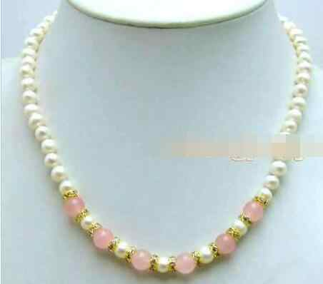 """SALE 6-7mm White natural freshwater Pearl &8mmPink jade 17"""" Necklace-5834"""