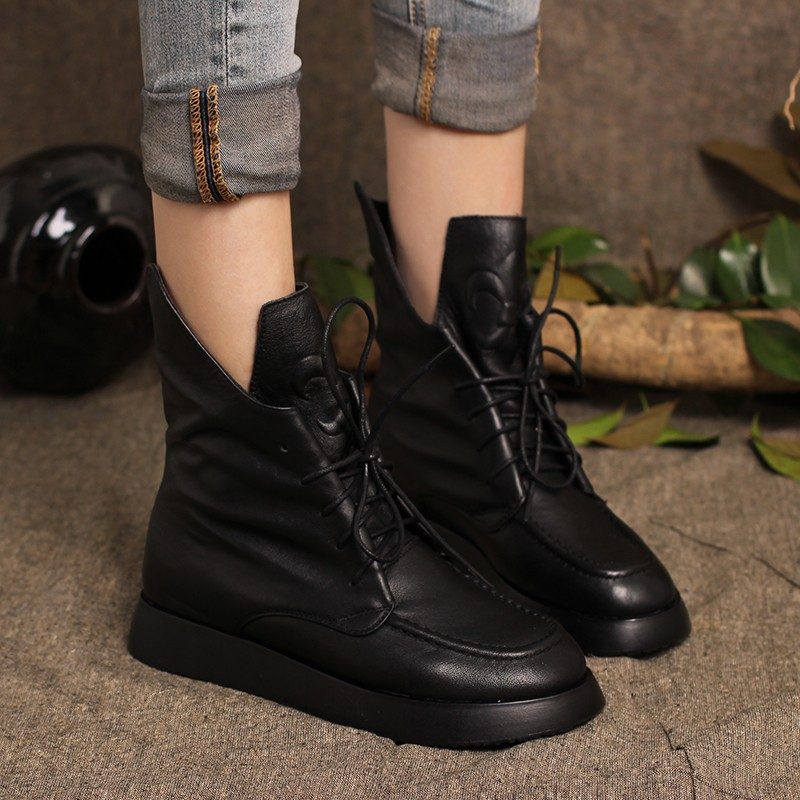 2017 Autumn Women Ankle Boots Black Genuine Leather Martin Boots For Women Designer Handmade Women Leather Boots Lace Up Shoes 2017 autumn fashion boots sequins women shoes lady pu leather white boots bling brand martin boots breathable black lace up pink