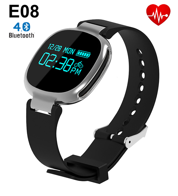 E08 Bluetooth Smart Bracelet IP67 Waterproof Pedometer Heart Rate Monitor Fitness Tracker Wristband for Android IOS PK Mi Band 2