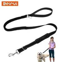 Non Slip Car Seat Belt Vehicle Dog Leash Bungee Padded Reflective Night Safety Pet Tracking Leads
