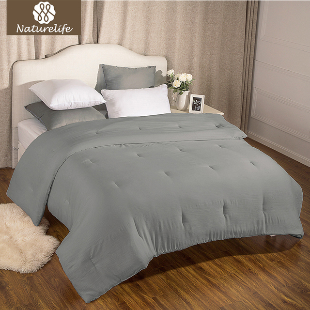 Naturelife Washed Cotton Like Duvet Comforter Insert With Corner Ties Solid Grey Quilted Down Alternative