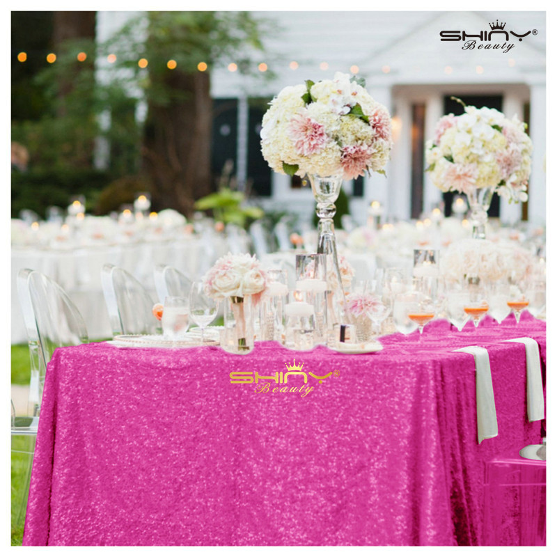 ShinyBeauty Popular Fuchsia Pink Sequin tablecloth On sale! Sequin Shimmer Tablecloth 60x150 RECTANGULAR-Fuchsia-a