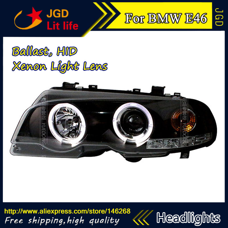 Free shipping ! Car styling LED HID Rio LED headlights Head Lamp case for BMW E46 Bi-Xenon Lens for volkswagen polo mk5 vento cross polo led head lamp headlights 2010 2014 year r8 style sn