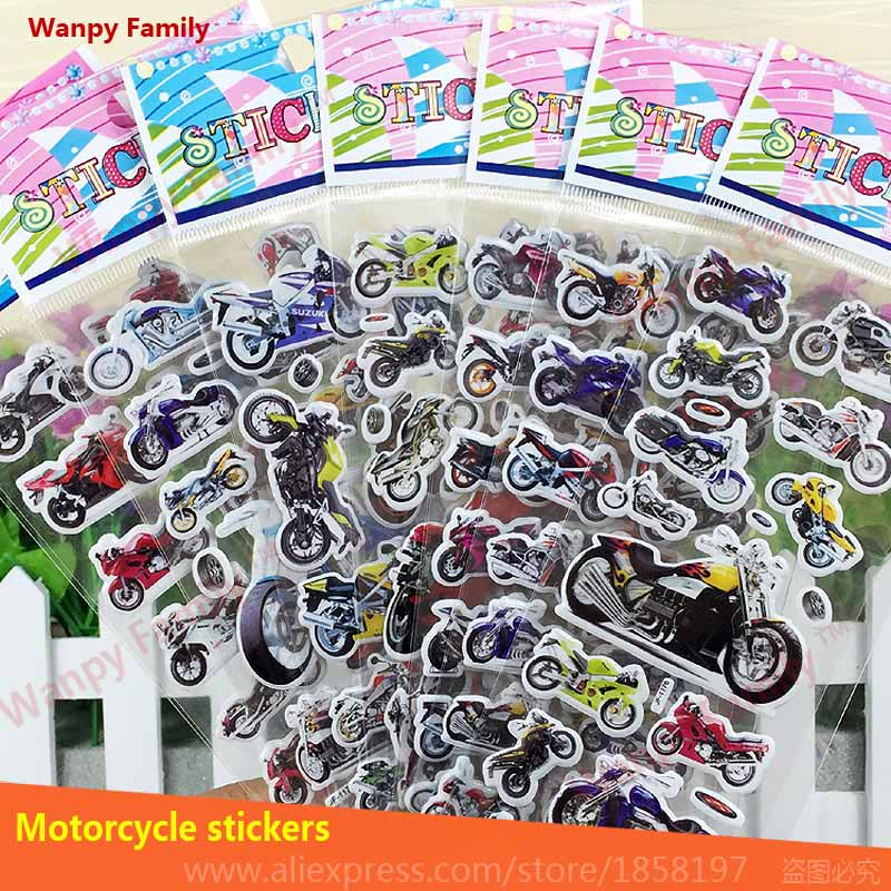 6 PCS/Lot Motorcycle wall Stickers nursery home decor decals Children stickers for kids Birthday Gift rewards toys