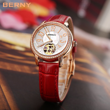 Rose Gold Hollow Skeleton Automatic Mechanical Watches Womens Waterproof Ladies Watch The Best Luxury Brand BERNY Montre Femme