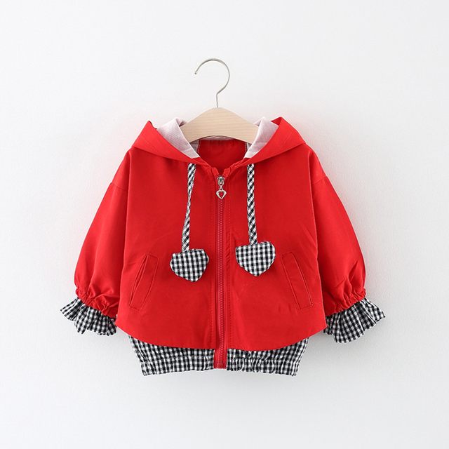 Babyinstar Baby Girls Hooded Jackets Coats 2019 Spring Patchwork Plaid Print Outwear Kids Heart Appliques Clothes  Childre Coats