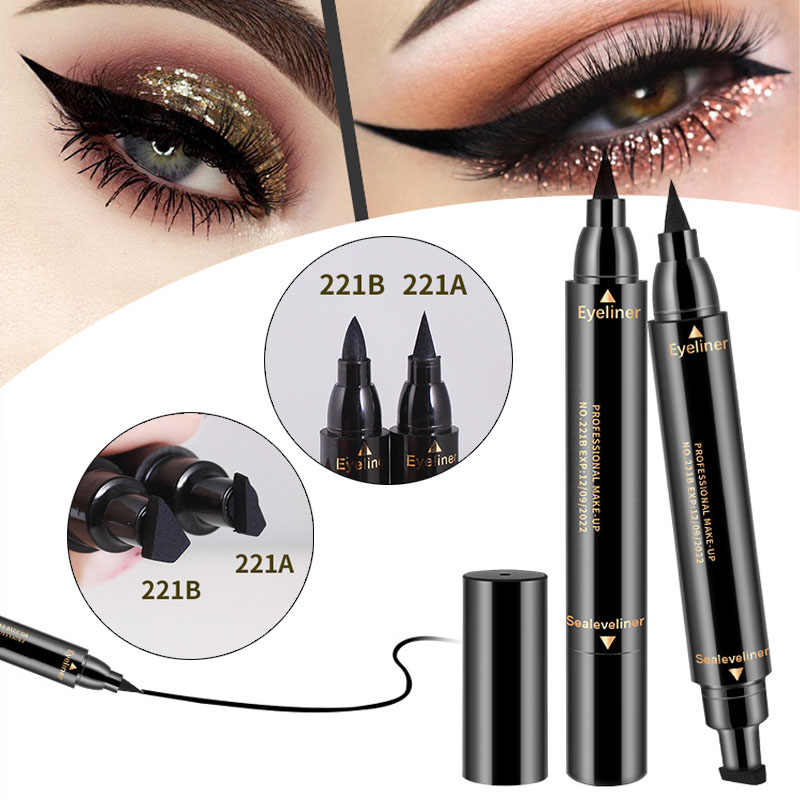 SHIDISHANGPIN 1 pc eyeliner schwarz doppel ended eye liner bleistift machen up stempel wasserdicht eyeliner pinsel make-up-tools