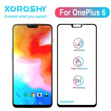 KOROSHY 9H Full Cover Tempered Glass for OnePlus 6 One Plus OnePlus6 1+6 Screen Protector Real 2.5D Toughened Film Black