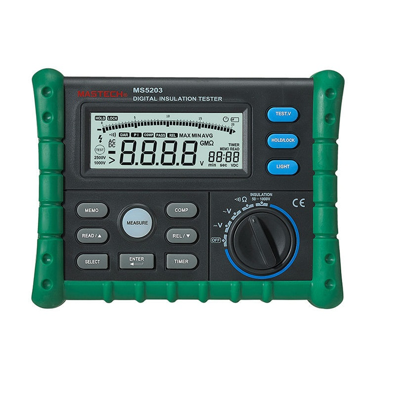 Mastech MS5203 Digital Megger Insulation Tester Resistance Meter Tecrep 10G 1000V AC/DC Voltage Continuity Electrical Test hyelec ms5203 digital megger 1000v insulation resistance tester meter dc ac voltage resistance insulation tester