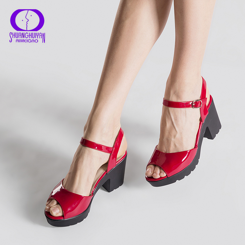 Big Size Summer Red Wedge Platform Women High Heels Sandals Open Toe Fish Head Fashion Buckle Strap Sandals Shoes For Women summer air mesh women sandals fashion 2 colors open toe lace up wedge swing shoes height increasing platform sandals size 35 39