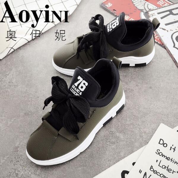 Véritable gris Pour Lace Green Taille Plate Grande rose 40 De Sneakers Printemps Mode Femmes forme Chaussures up Cuir 35 army Noir En Noir Automne Rw40xUqw