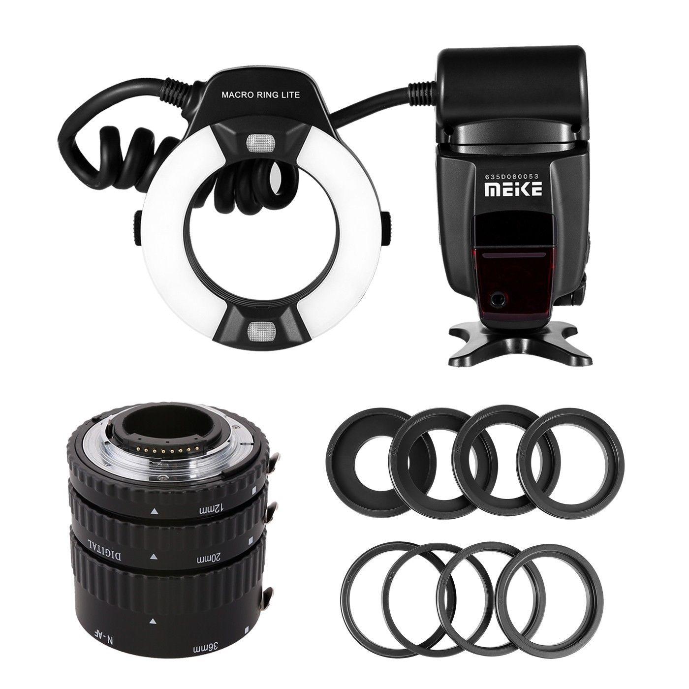 Meike Metal AF Macro Extension Tube + MK-14EXT TTL Ring Flash LED Light for Nikon SLR Cameras D7000 D5000 D5100 D3200 D3100 meike mk d750 battery grip pack for nikon d750 dslr camera replacement mb d16 as en el15 battery