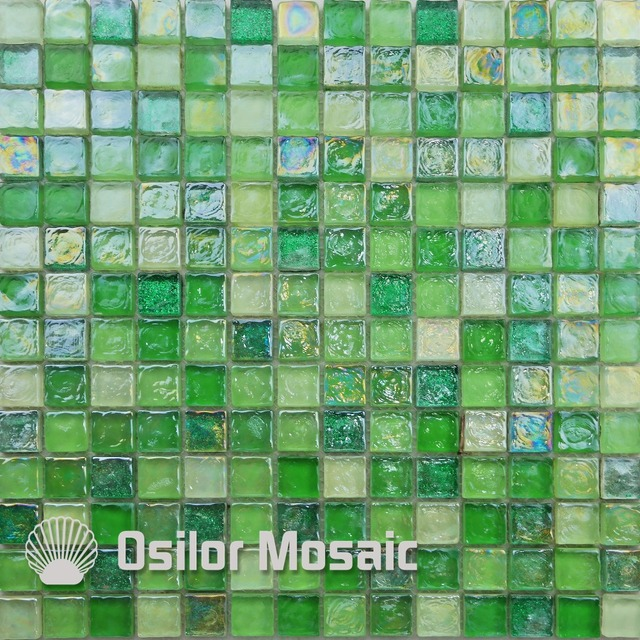 free shipping square pattern green color glass and crystal mosaic tile for home decoration wall tile