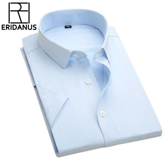 Men Business Shirt 2016 Summer New Simple Designer High Quality Solid Male Short Sleeve Slim Fit Formal Dress Shirts 4XL M079