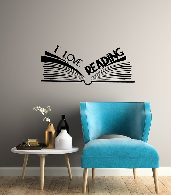 I love reading vinyl wall decals school library reading room classroom study youth childrens decorative wall stickers YD12