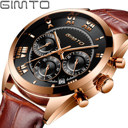 GIMTO Top Brand Gold Watch Men 2018 New Leather Male Clock Roman Vintage Casual Army Military Watches Sport Waterproof Relogio