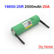 battery 18650 25r inr18650-25r 2500mah 20a 18650 battery+diy nickel for power tools E-bike battery/12v electric screwdriver set(China)