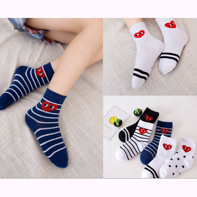 cad8efab7cec5 Kids Socks Free Shipping Childrens 95%Cotton Kids Baby boys girls 1-12Year  5pair/lot new arrived students striped dot heart