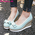 VINLLE 2017 Women Pumps Round Toe Platform Woman Shoes Wedges High Heel Sweet Bow tie Women Spring Autumn Shoes Big Size 34-43