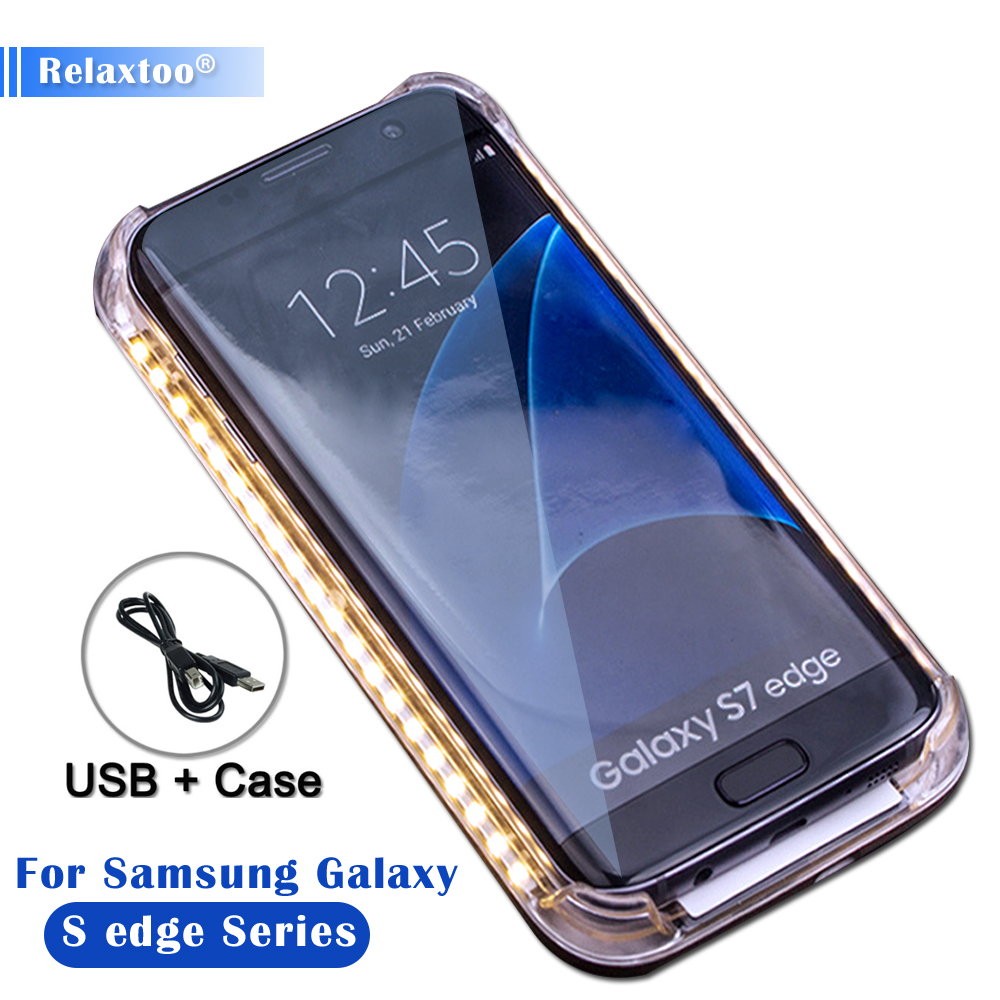 Selfie light Phone Case For Samsung Galaxy S6 edge S7 edge S 6 7 Selfie Light Case For Galaxy S6 edge Up Glowing Phone Case S7 6
