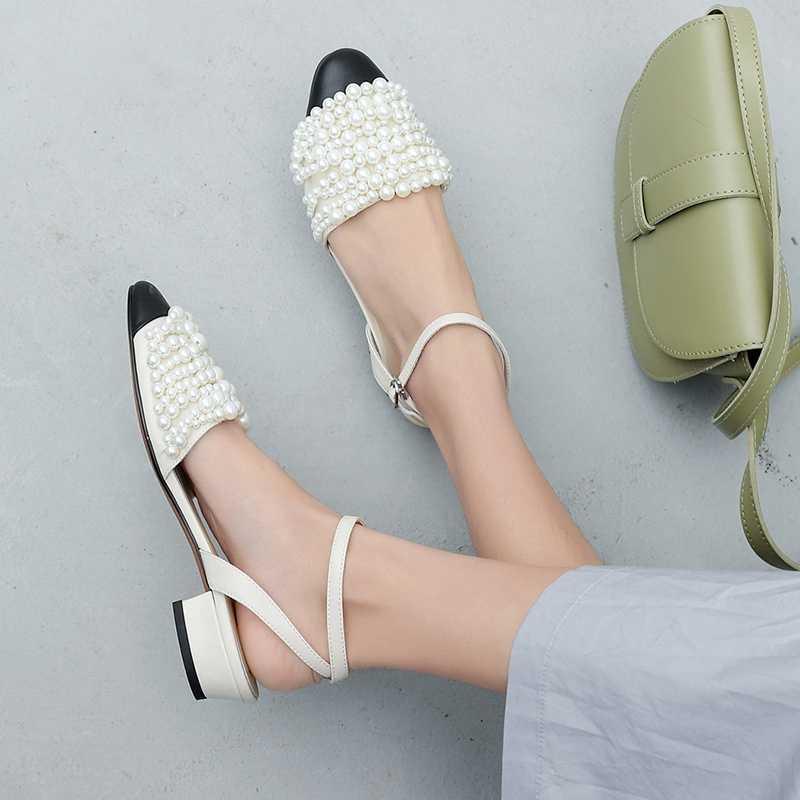 ASILETO/летние офисные женские туфли-лодочки обувь из натуральной кожи босоножки с закрытым носком и жемчужинами на низком каблуке модельные туфли sandalias mujer 1005