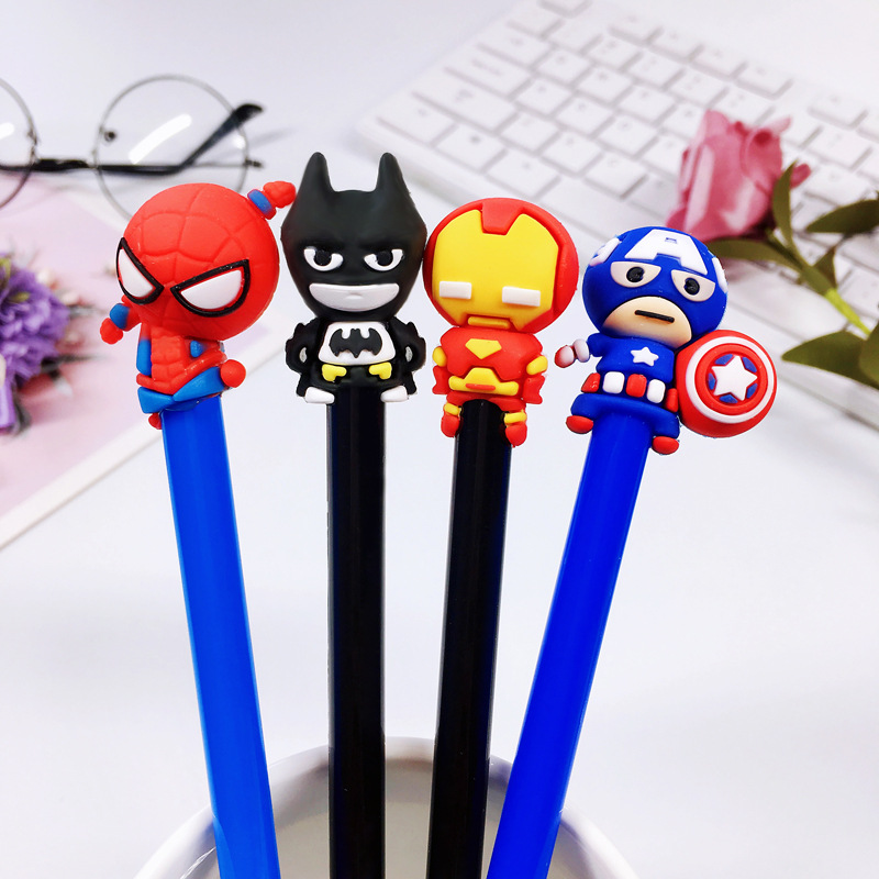 4 Pcs/lot Cuet Superhero Movie Character American Captain Batman Gel Pen Signature Pen Escolar Papelaria School Office Supply