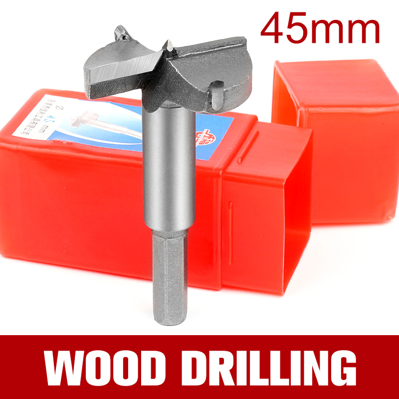 HOEN 1pcs 45mm HSS Cemented Carbide Wood Drills Forstner Auger Drill Bit Set Woodworking Hand Drill Rotary High Quality high quality 55mm blue gray forstner sharp tip hinge wood drill boring bit