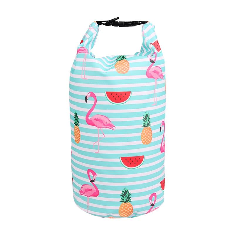 10L Waterproof Bag Backpack Flamingo Beach Swimming Bags Outdoor Dry Bag Storage Sack Kayaking Drifting River Trekking Bag Women