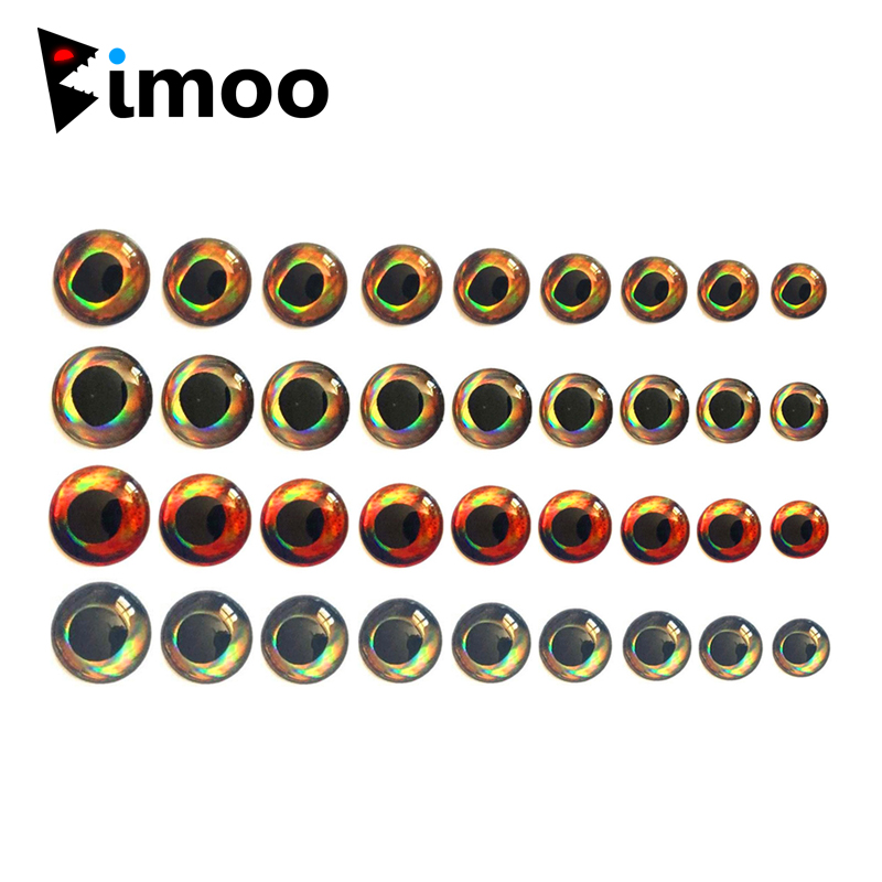 Bimoo 50PCS Holographic 3D 4D Fish Eyes For Fly Tying Streamers Baitfish Wood Plastic Lure Popper DIY Eyes