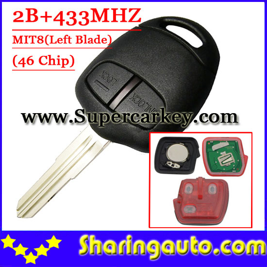 Free shipping (1piece) 2 Button Remote Key MIT8 uncut blade with 46 chip 433MHZ For Mitsubishi Lancer Outlander free shipping 2 button remote key hu87 blade with id46 chip 433mhz for suzuki swift yy 1piece